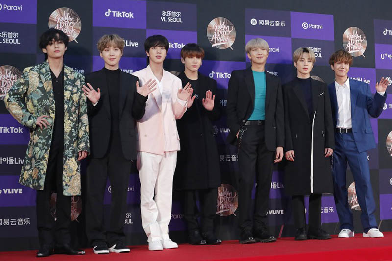 Members of South Korean K-Pop group BTS